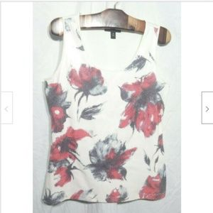 Floral Sequin Tank Top White Red Gray Medium